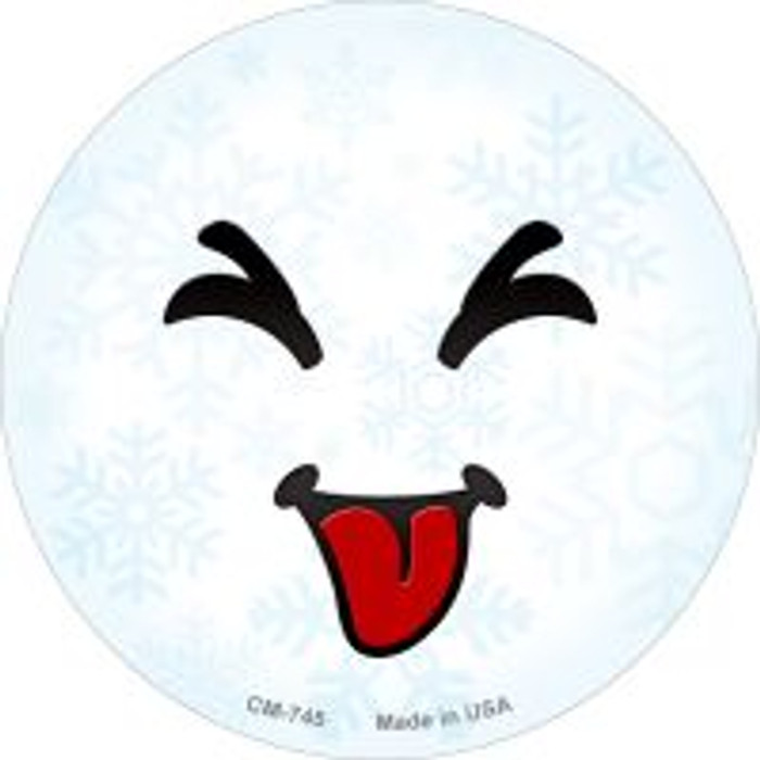 Raspberry Face Snowflake Novelty Metal Mini Circle Magnet CM-745