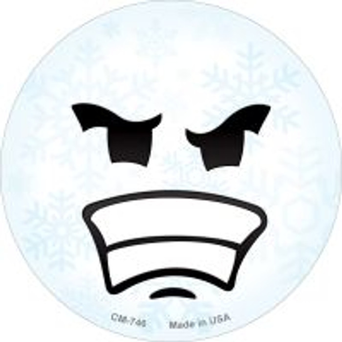 Angry Face Snowflake Novelty Metal Mini Circle Magnet CM-746