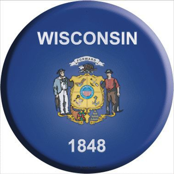 Wisconsin State Flag Metal Circular Sign