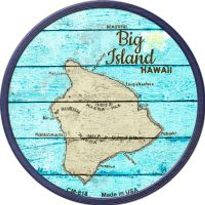 Big Island Hawaii Map Novelty Metal Mini Circle Magnet CM-818