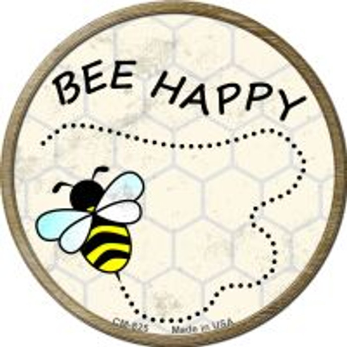 Bee Happy Novelty Metal Mini Circle Magnet CM-825