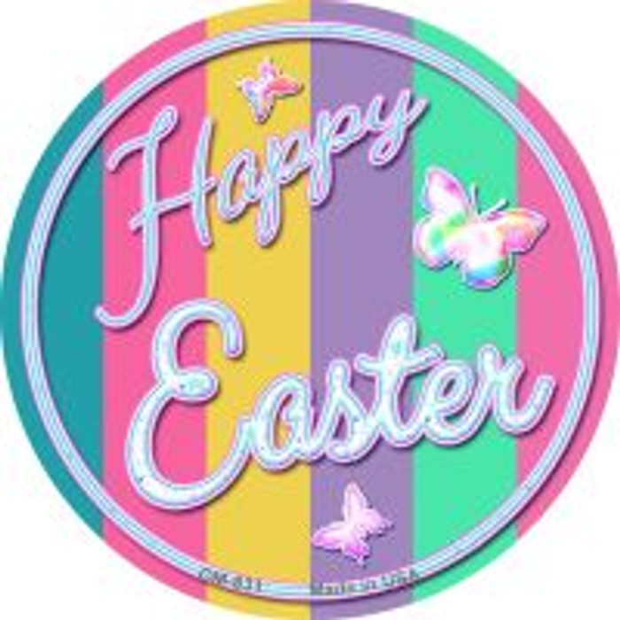 Happy Easter with Butterflies Novelty Metal Mini Circle Magnet CM-831