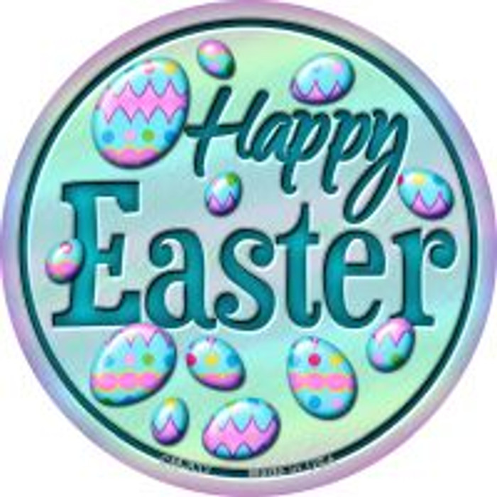 Happy Easter with Eggs Novelty Metal Mini Circle Magnet CM-832