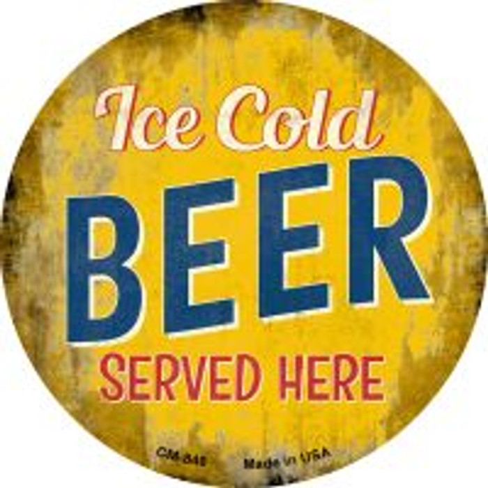 Ice Cold Beer Served Here Novelty Metal Mini Circle Magnet CM-848