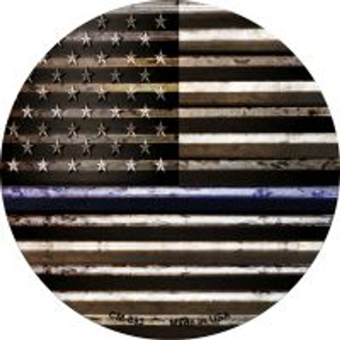 American Flag Thin Blue Line Novelty Metal Mini Circle Magnet CM-893