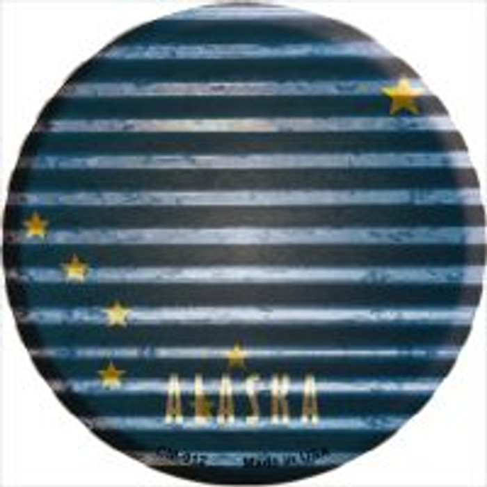 Alaska Flag Corrugated Effect Novelty Metal Mini Circle Magnet CM-912
