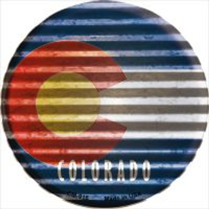Colorado Flag Corrugated Effect Novelty Metal Mini Circle Magnet CM-916