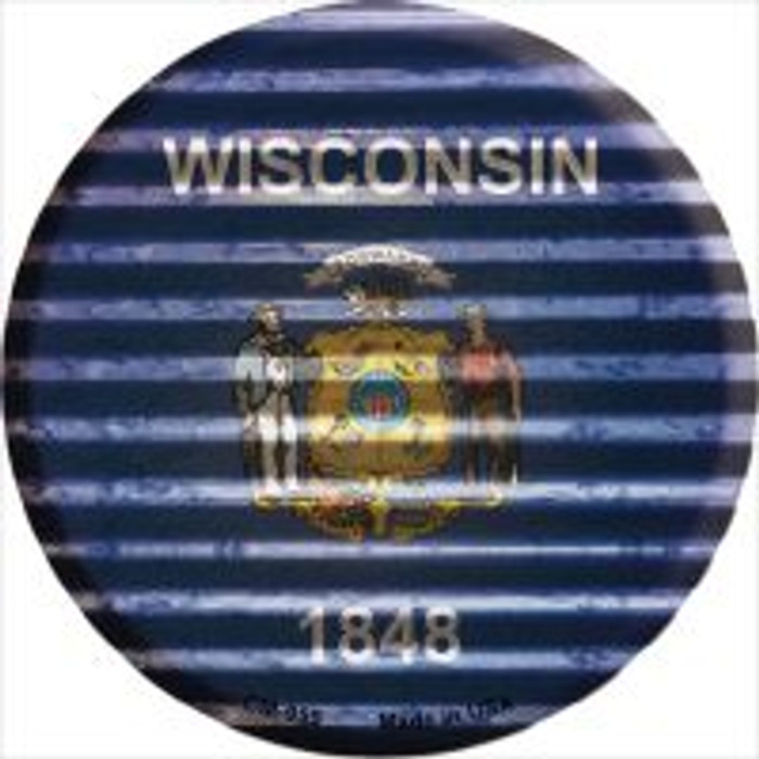 Wisconsin Flag Corrugated Effect Novelty Metal Mini Circle Magnet CM-959