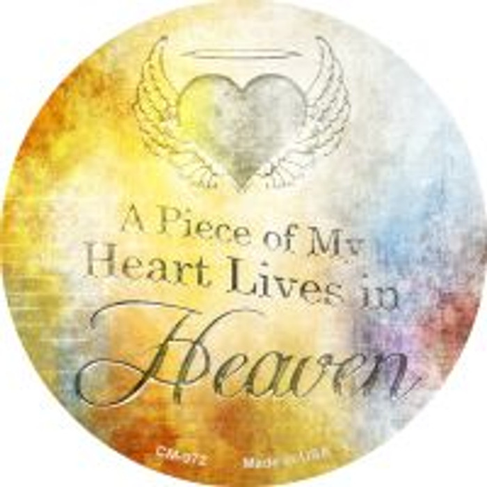 Heart Lives In Heaven Novelty Metal Mini Circle Magnet CM-972