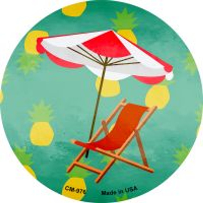 Chair and Umbrella Novelty Metal Mini Circle Magnet CM-976