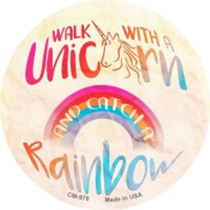 Walk with a Unicorn Novelty Metal Mini Circle Magnet CM-978