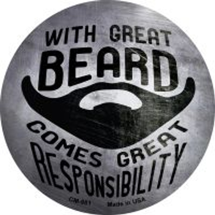 With Great Beard Novelty Metal Mini Circle Magnet CM-981