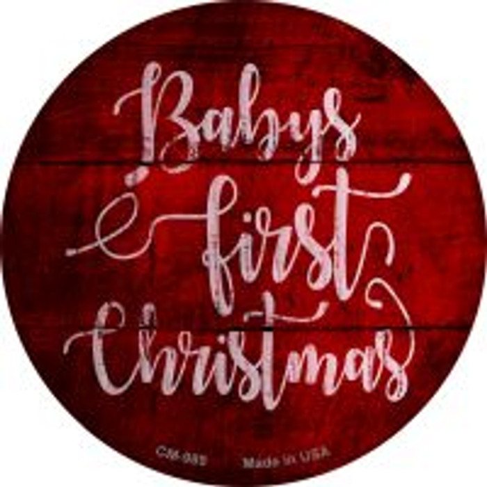 Babys First Christmas Novelty Metal Mini Circle Magnet CM-989
