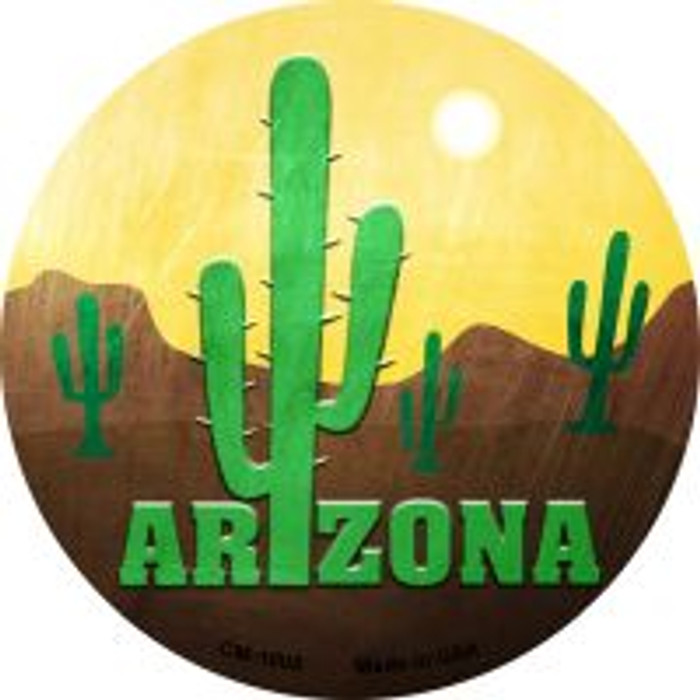 Arizona with Saguaro Novelty Metal Mini Circle Magnet CM-1005