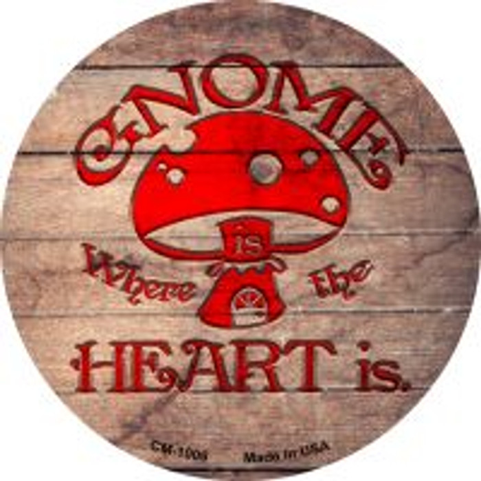 Gnome Where Home Is Novelty Metal Mini Circle Magnet CM-1006