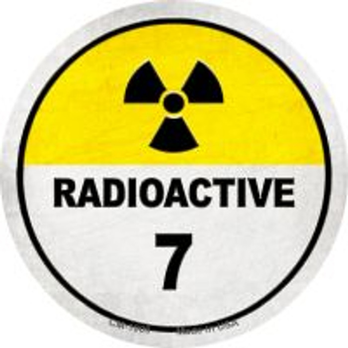 Radioactive 7 Novelty Metal Mini Circle Magnet CM-1009