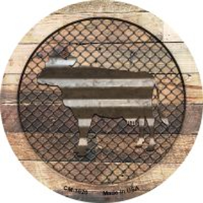 Corrugated Cow on Wood Novelty Metal Mini Circle Magnet CM-1020
