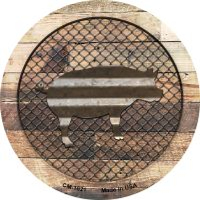 Corrugated Pig on Wood Novelty Metal Mini Circle Magnet CM-1021