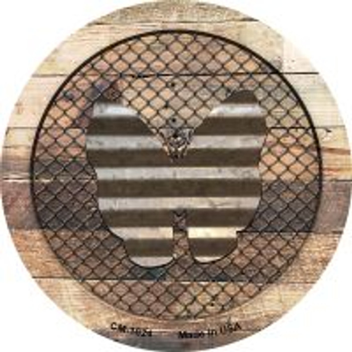 Corrugate Butterfly on Wood Novelty Metal Mini Circle Magnet CM-1024