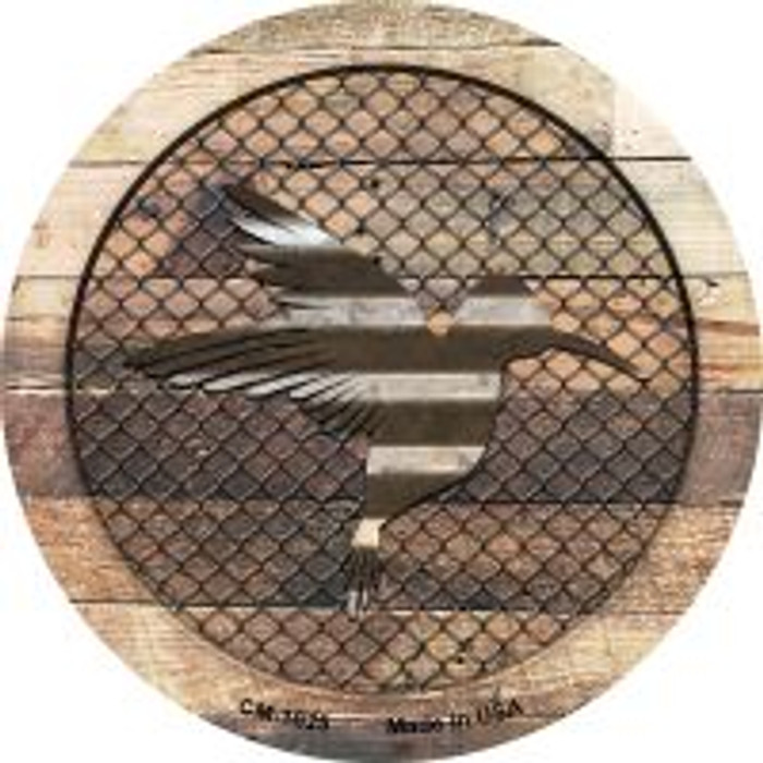 Corrugated Hummingbird on Wood Novelty Metal Mini Circle Magnet CM-1025