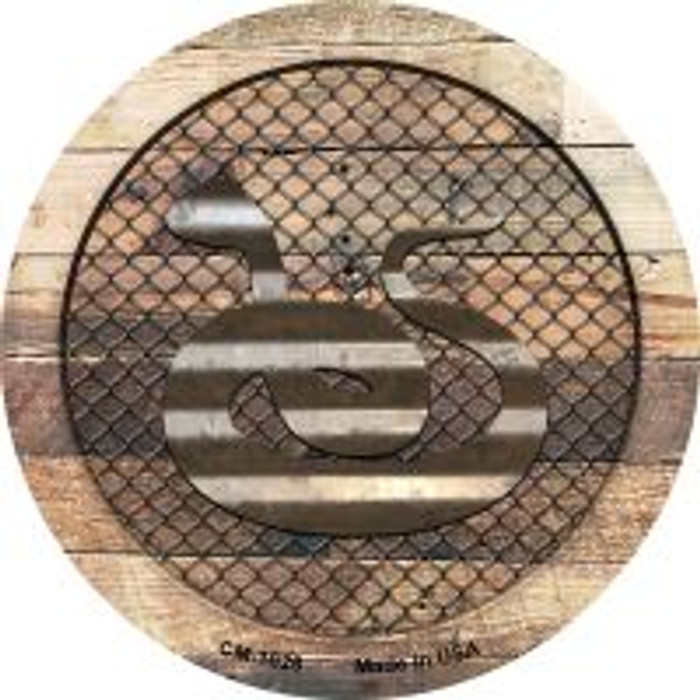 Corrugated Snake on Wood Novelty Metal Mini Circle Magnet CM-1028