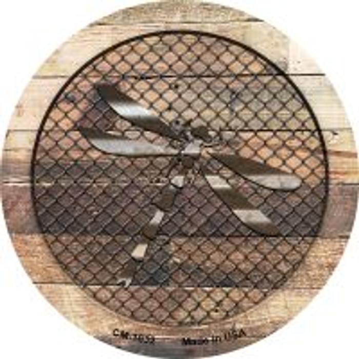 Corrugated Dragonfly on Wood Novelty Metal Mini Circle Magnet CM-1032