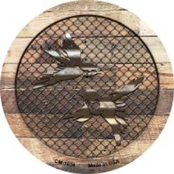 Corrugated Little Birds on Wood Novelty Metal Mini Circle Magnet CM-1036