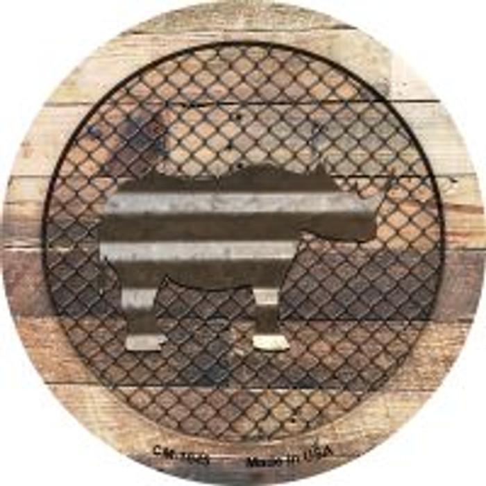 Corrugated Rhino on Wood Novelty Metal Mini Circle Magnet CM-1045