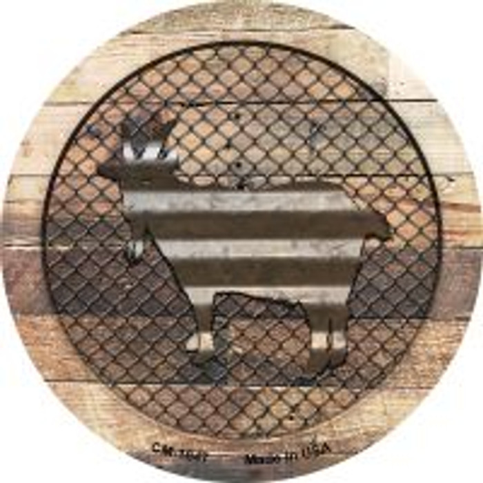 Corrugated Goat on Wood Novelty Metal Mini Circle Magnet CM-1047