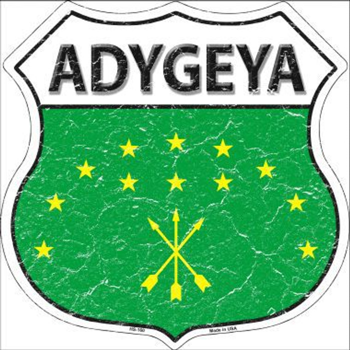 Adygeya Country Flag Highway Shield Metal Sign