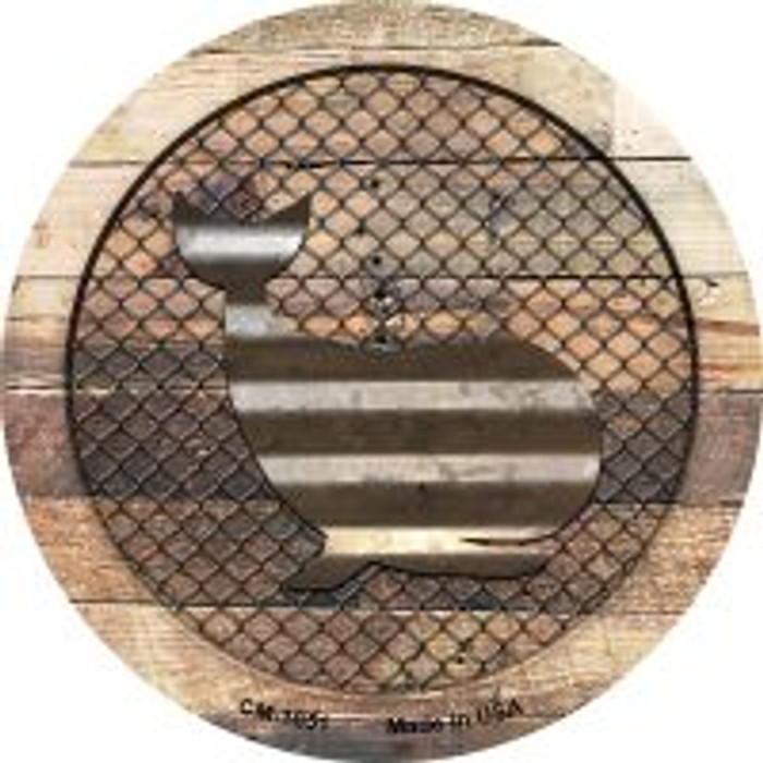 Corrugated Whale on Wood Novelty Metal Mini Circle Magnet CM-1051