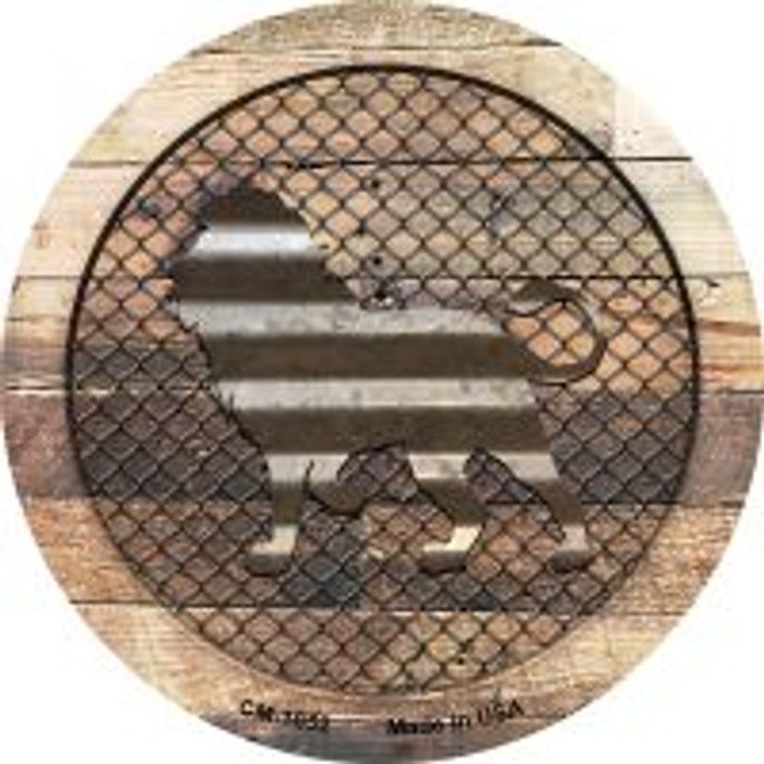 Corrugated Lion on Wood Novelty Metal Mini Circle Magnet CM-1052