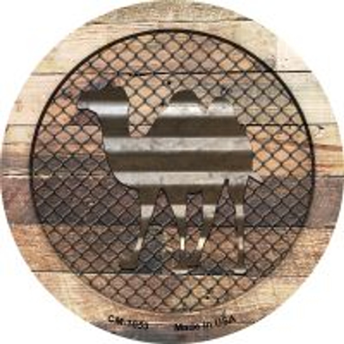 Corrugated Camel on Wood Novelty Metal Mini Circle Magnet CM-1053