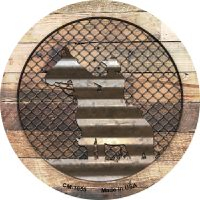 Corrugated Cowboy on Wood Novelty Metal Mini Circle Magnet CM-1055
