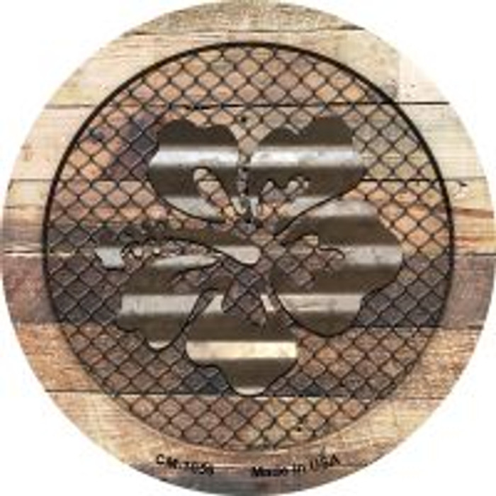 Corrugated Hawaiian Flowers on Wood Novelty Metal Mini Circle Magnet CM-1056
