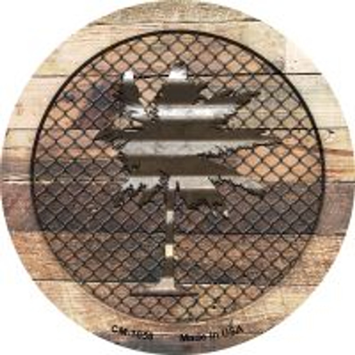 Corrugated Palm Tree on Wood Novelty Metal Mini Circle Magnet CM-1058