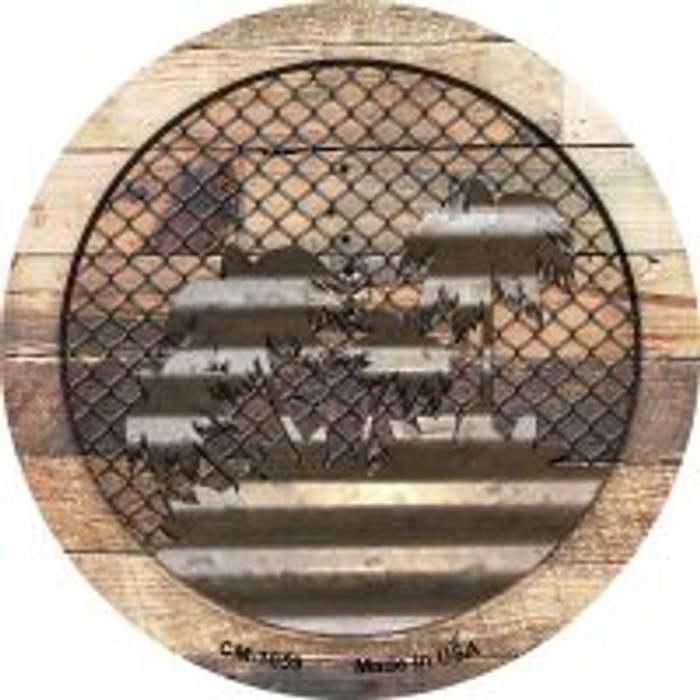 Corrugated Palm Trees on Wood Novelty Metal Mini Circle Magnet CM-1059