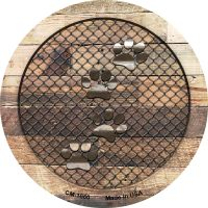 Corrugated Dog Paws on Wood Novelty Metal Mini Circle Magnet CM-1060