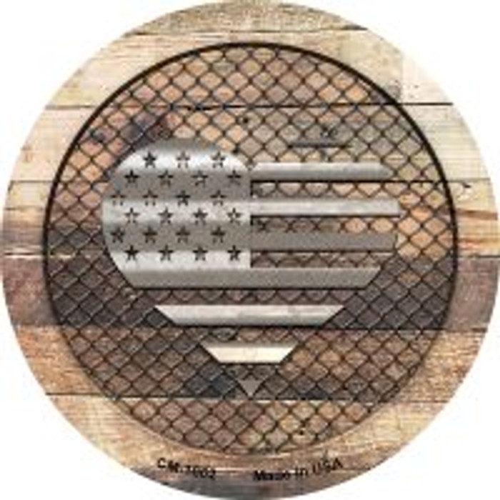 Corrugated American Flag Heart on Wood Novelty Metal Mini Circle Magnet CM-1062