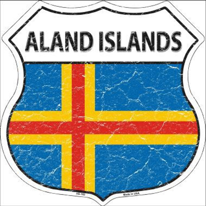 Aland Islands Country Flag Highway Shield Metal Sign