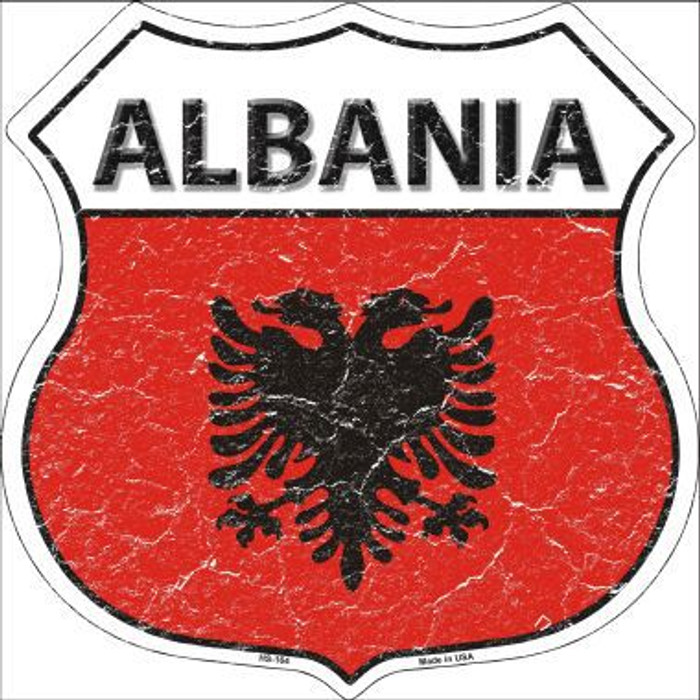 Albania Country Flag Highway Shield Metal Sign