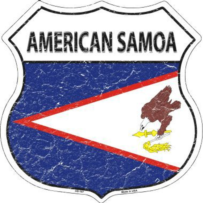 American Samoa Country Flag Highway Shield Metal Sign