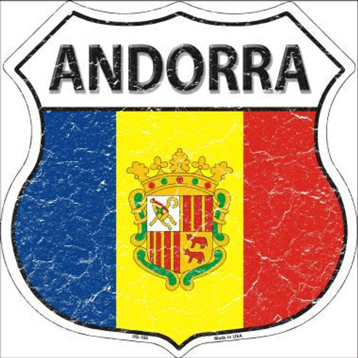 Andorra Country Flag Highway Shield Metal Sign