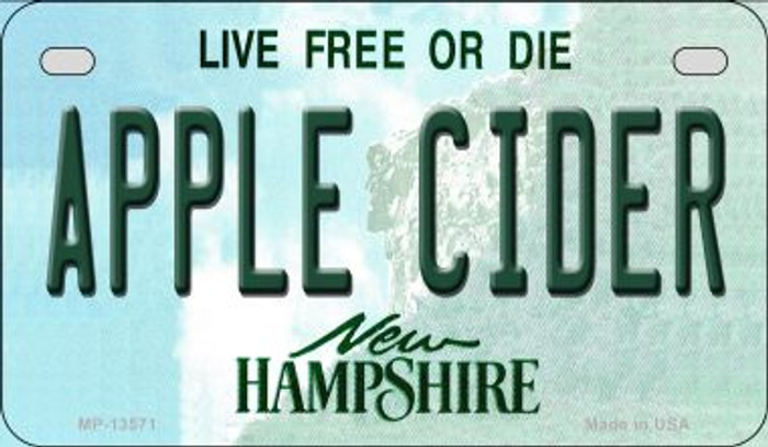 Apple Cider New Hampshire Novelty Metal Motorcycle Plate MP-13571