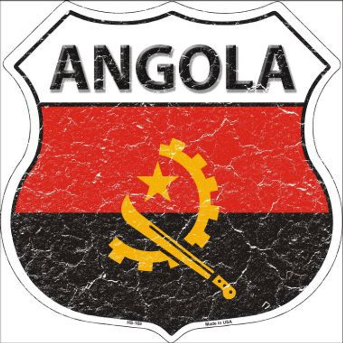 Angola Country Flag Highway Shield Metal Sign