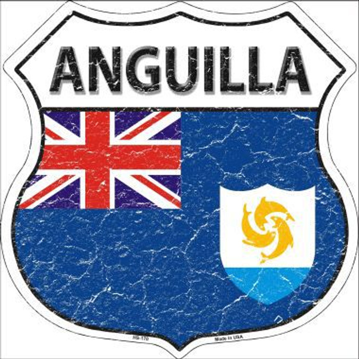 Anguilla Country Flag Highway Shield Metal Sign