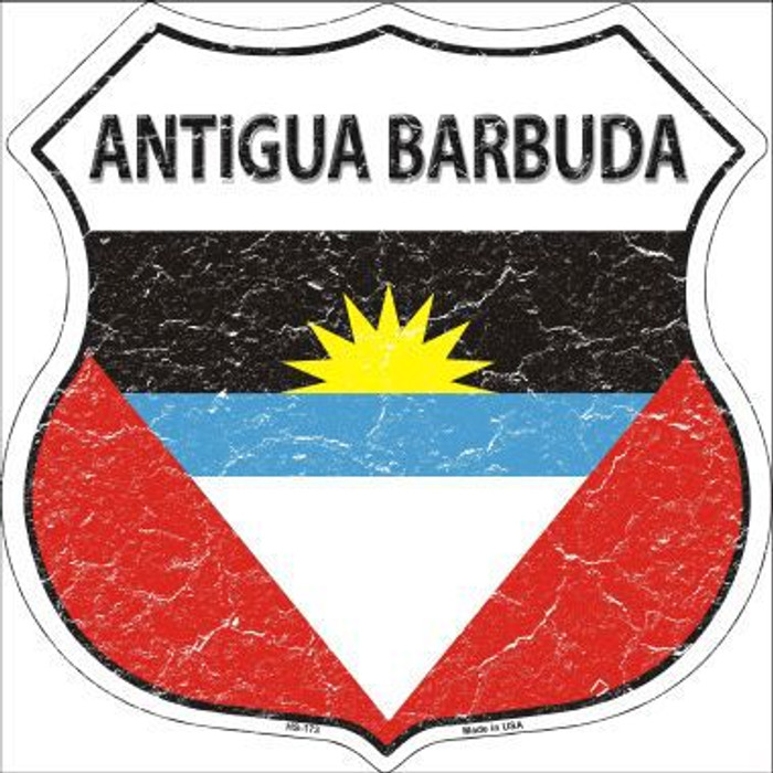 Antigua Barbuda Country Flag Highway Shield Metal Sign