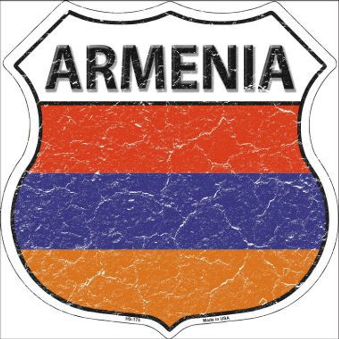 Armenia Country Flag Highway Shield Metal Sign