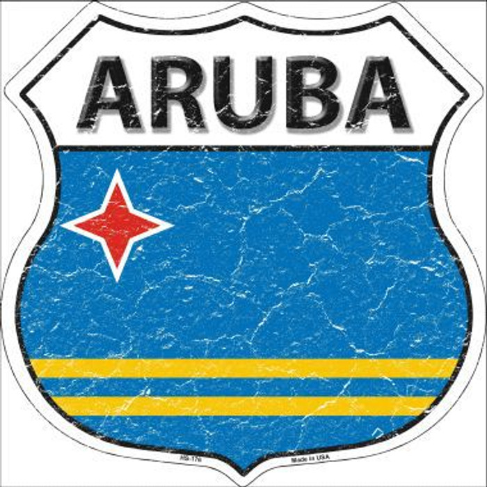 Aruba Country Flag Highway Shield Metal Sign