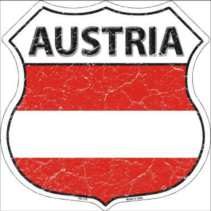 Austria Country Flag Highway Shield Metal Sign